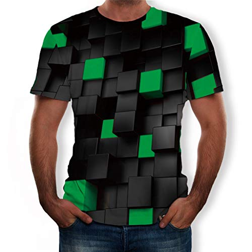 - 3D Pattern Printed T-Shirts for Man,Unisex Summer Casual Short Sleeve Blouse Tops Tee (Green, L)