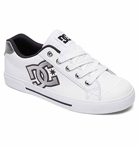 DC Women's Chelsea SE Skateboarding Shoe, White/Grey/Grey, 7.5 B US