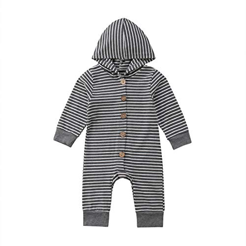 Newborn Kids Baby Boys Cute Solid Color Long Sleeve Hooded Romper Jumpsuit Top Outfits Clothes (18-24 Months, Stripe) (White Infant One Piece)