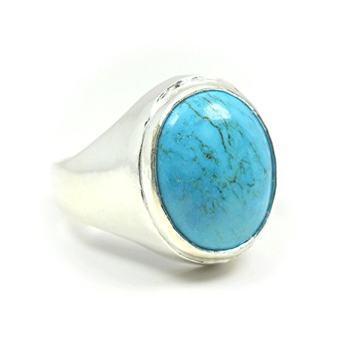 Ring Genuine Stone (Jewelryonclick 4.5 Carat Natural Turquoise Gemstone Sterling Silver Genuine Bold Ring For Men)