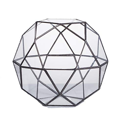 (NCYP Modern Handmade Artistic Glass Geometric Dome Terrarium Triangular Pentagon Mix 32-Sides Indoor Succulent Air Plants Holder Balcony Miniature Decor Centerpiece)