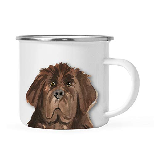 Andaz Press 11oz. Stainless Steel Dog Campfire Coffee Mug Gift, Newfoundland Up Close, 1-Pack, Pet Animal Camp Camping Enamel Cup Modern Birthday Gift Ideas for Him Her Family