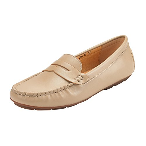 JENN ARDOR Penny Loafers for Women: Vegan Leather Slip-On Comfortable Driving Moccasins Flats-Beige 9 B(M) US