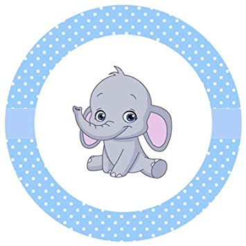 Lacrafts Baby Shower Personalized Stickers Elephant Boy 1 5 White 30 Stickers
