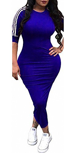 Remelon Womens Casual Striped Half Sleeve Crewneck Tunic Bodycon Long Pencil Midi Dress (Large, Blue)