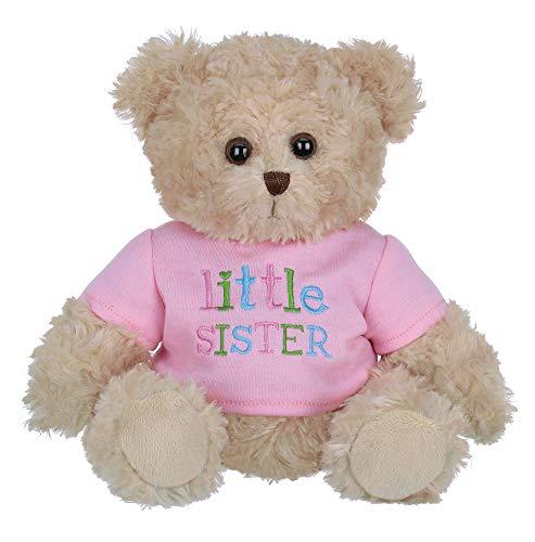 Bearington Ima Lil' Sister Plush Stuffed Animal Teddy Bear in Pink T-Shirt, 12 Inches (Brother Little Bear Teddy)