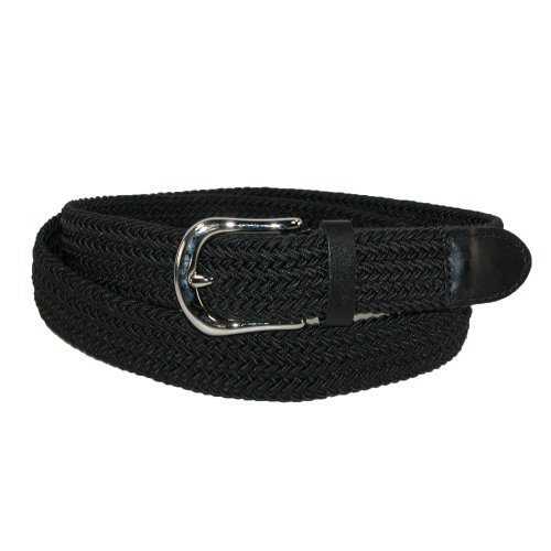 CTM Men's Elastic Braided Stretch Belt with Silver Buckle and Matching Tabs - Buckle Tab