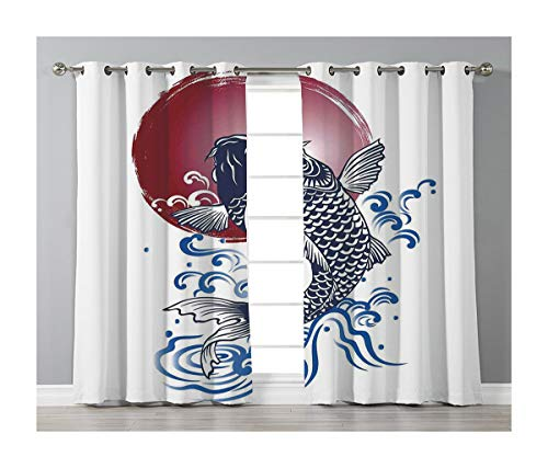 Goods247 Blackout Curtains,Grommets Panels Printed Curtains for Living Room (Set of 2 Panels,42 by 84 Inch Length),Ocean Animal Decor -