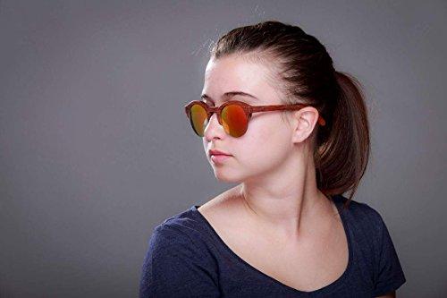 Redondo UV400 Lentes Talla para Madera Espejo Hecho Sol Cat Mujer de Gafas única 3 Hombre Mano Vintage Okulars® amp; de a Protección HTY6q