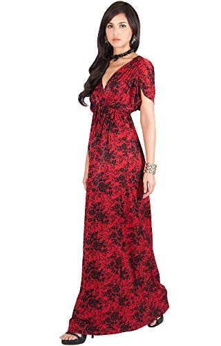 KOH KOH Womens Long Kimono Sleeve Floral Lace Print Cocktail Evening Maxi Dress