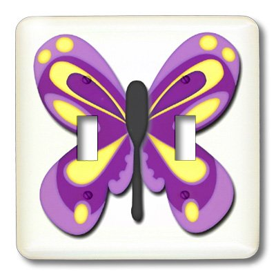 - 3dRose LLC lsp_45059_2 Purple and Yellow Kids Butterfly Double Toggle Switch