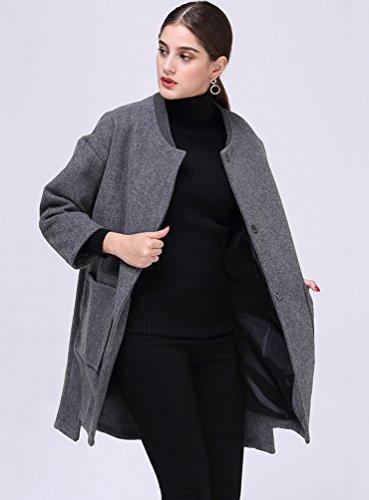 Chaqueta Abrigada Mujer para WanYang Color Casual Chaqueta Larga Elegante Abrigo Chaqueta de Suelta y Gris sólido para Informal Mujer nfw8Pfq4p