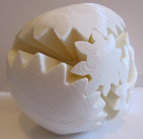 3D Printed Rotating Skull Gear, White