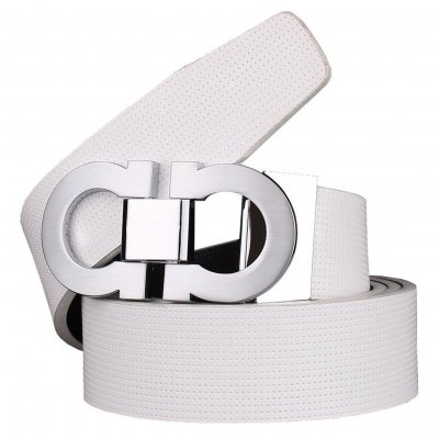 Men's Smooth Leather Buckle Belt 35mm Leather up to 42inch (105-115cm for Choose) 110cm White-Sliver