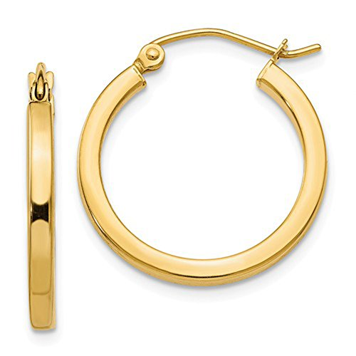 14k Yellow Gold Tube Round Hoop Earrings with Square Tube, 0.8 in (20mm) (2mm Tube) 2mm Square Tube Hoop Earrings