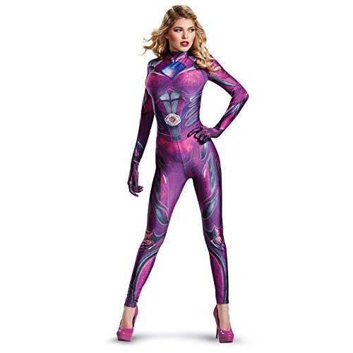 [Disguise Women's Ranger Movie Bodysuit Costume, Pink, Large] (Adult Pink Ranger Costumes)