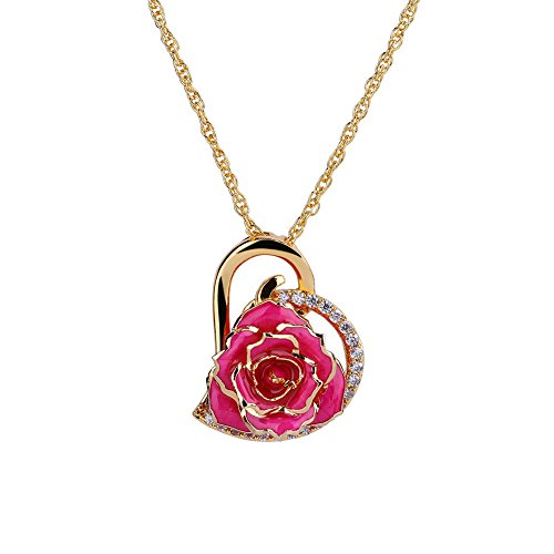 Pink Rose Heart - ZJchao 24K Gold Plated Rhinestone Heart Shaped Pink Rose Pendant Necklace for Women