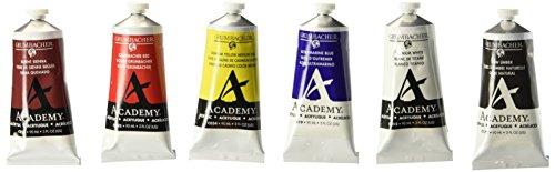 Grumbacher Academy Acrylic Paint, 90ml/3 oz Metal Tube, 6-Co