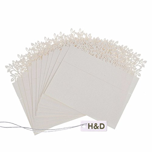 [H&D Flower Laser Cut Wedding Party Name Setting Place Cards Table Decoration (Ivory, 120pcs/ 10bags)] (Laser Cut Note Cards)