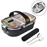 Arderlive Insulated Bento Box With portable utensils, 2-Compartment Leakproof Stainless Steel Lunch Container For Kids Or Adults.(BLACK)