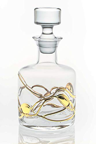ANTONI BARCELONA Magnificent Whisky Decanter Hand Painted & Mouth Blown Crystal Aerator Bourbon Brandy Wine liquors Unique Gift Stunning Glassware Presents Men Women Fathers Coworkers (Gold)
