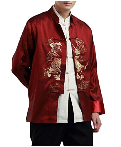Abetteric Men's Mandarin Collar Jackets Embroidered Traditional Tang Suit Wine Red 2XL ()