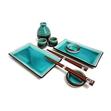 Japanese Blue Sushi Plate Set and Sake Set for Two