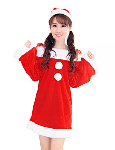 YFFaye Women's Cute Santa Costume Womens Christmas Santa Dress (Sexiest Marvel Women)