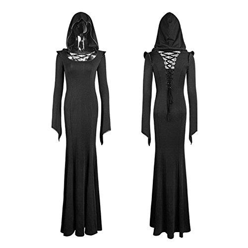 Kleid en 3 Sleeves Gr Priester Long Kleid Gothic mit Punk Aristokratischen Hooded Frauen Kapuze vOPfWq