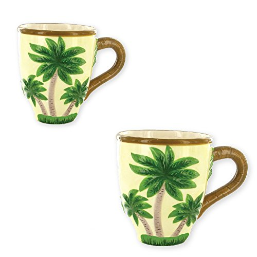 Mug - Hand Painted Pretty Palm Trees Ceramic 12 Ounce Coffee Cup (Set of 2) - Ceramic Palm Tree