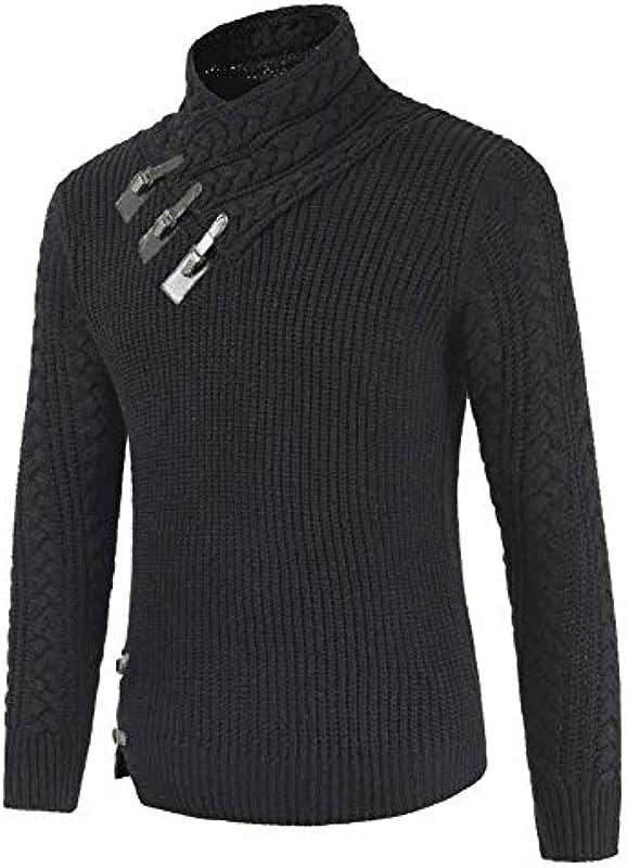 SKTWOE sweter męski z dzianiny, tryb, trzy warstwy sztucznej skÓry, klamra, sweter ze stÓjką, pogrubiony, z długim rękawem, ciepła bluza, C, L: Küche & Haushalt