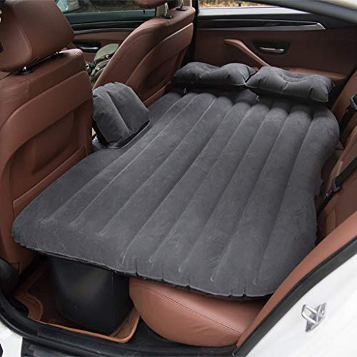 Salaks 【US Stock】 Heavy Duty Multi-Functional Car SUV Inflatable Air Mattress Bed Back Seat Cushion with 2 Pillows and Pump for Travel Camping Beach Rest Tour Trip Park Lawn Picnic