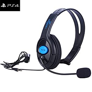 Joso Wired PS4 Gaming Chat Headset With Mic Volumn Control 3.5mm Online Live Game Gaming Headphone Earphone Headband with Mic Stereo for Sony Playstation 4 PS4 Controller