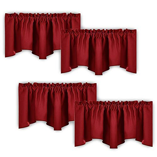 NICETOWN Burgundy Red Blackout Valances - Thermal Insulated Elegant W52 x L18 Scalloped Rod Pocket Curtains for Small Window Decor on Christmas & Thanksgiving Day, Assorted Color, 2 Pairs (Window Red Valance Solid)