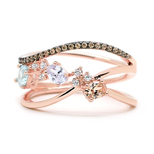 Sparkly Bride Chocolate CZ Statement Ring Clustered Multi Color Crossover Rose Gold-Flashed Women Fashion size 9