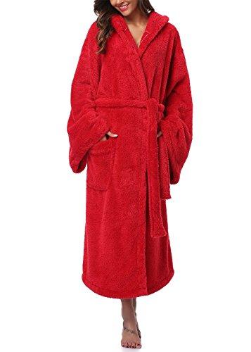 VIKEY Women's Plush Coral Velvet Robe Cozy Long Hooded Bathrobe Nightgown Red L/XL