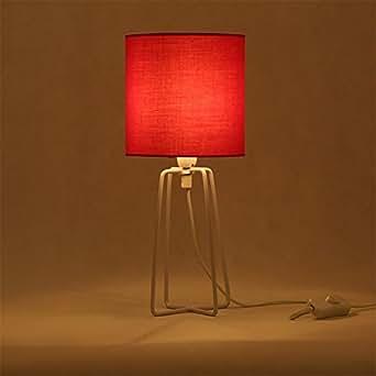 TRAVEPPY Simple Minimalist Art Decor Table Lamp E14 LED Bulb Base Talbe Light for Bedroom Lighting Fixture Atmosphere Lamp Red
