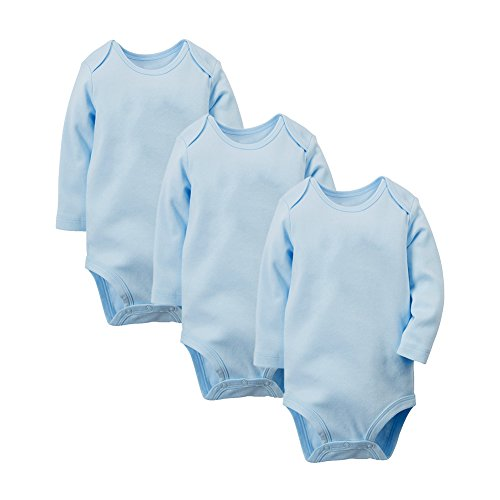 Enfants Cheris Unisex Baby 3 Pack Long Sleeve Onesies, (Blue, 6M)