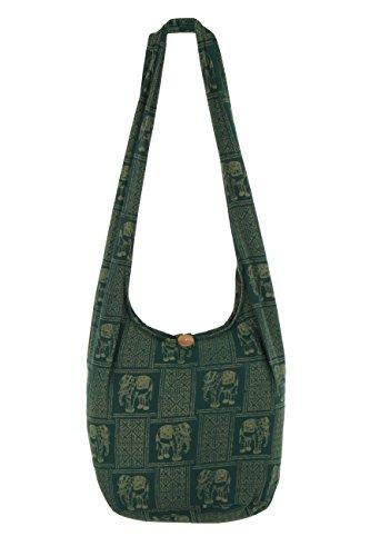 Cotone Viaggio In Green Borsa nbsp;100 Stile Spalla Cinghia Elefanti Motivo portafoglio 2 Da Thai Indic Con Ideale A qwPzR7