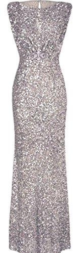 Evening Women Silver Prom Sexy Dresses Sleeveless Jaycargogo Sequin Maxi wUnTCBBqx