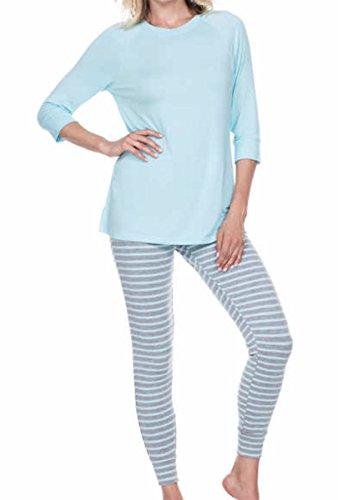 (Honeydew Womens 2 Piece Pajama Set (Light Blue, Gray, X-Large))