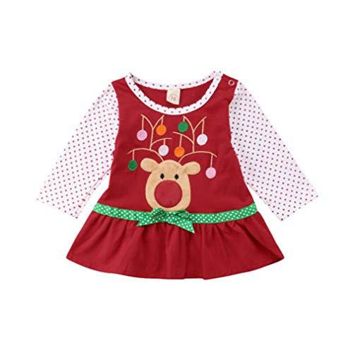 Toddler Baby Girl Outfit ELf Long Sleeve Tutu Dress with Headband Princess Outfits Set (RED, 0-6M)]()