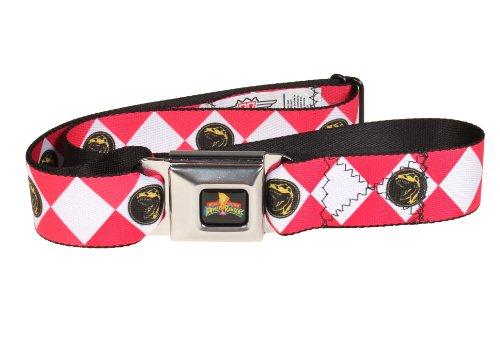 Power Rangers Logo Ranger Diamonds Adult Seatbelt Belt (One Size, Red) (Power Ranger Belt)