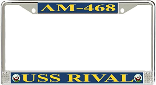 Carframes18 USS Rival AM-468 Metal License Plate Frame Military Veteran US Armed Forces