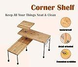 3 Tier Corner Shelf Bamboo & Metal Storage Spice