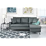 Divano Roma Furniture Bonded Leather Sectional Sofa   Small Space  Configurable Couch (Light Grey)