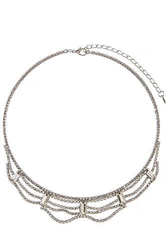 TRENDY FASHION JEWELRY CRYSTAL BAGUETTE DRAPED BIB NECKLACE BY FASHION DESTINATION | (Clear/Silver) Baguette Necklace