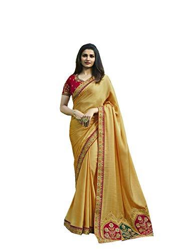 Indian Sari Fashion Designer Ethnic Georgette Saree Sparkal 2 (Yellow) ()