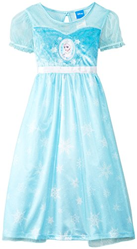 Disney Big Girls'  Frozen Dress Up Sleep Gown, Blue, Medium (Disney Frozen Gowns)