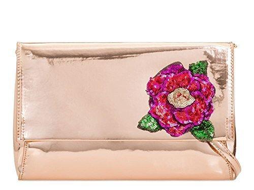 NEUF CUIR 'S décoration Sac Mariage haute main pour SEQUIN SIMILI Champagne pochette DIVA Medium FLORAL Champagne Fête VERNI Femmes à gwqzzXftxn